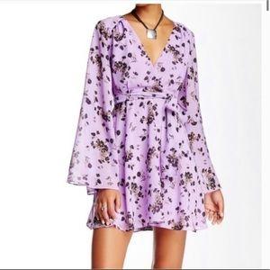 Free People Lilou Purple Floral Print Dress